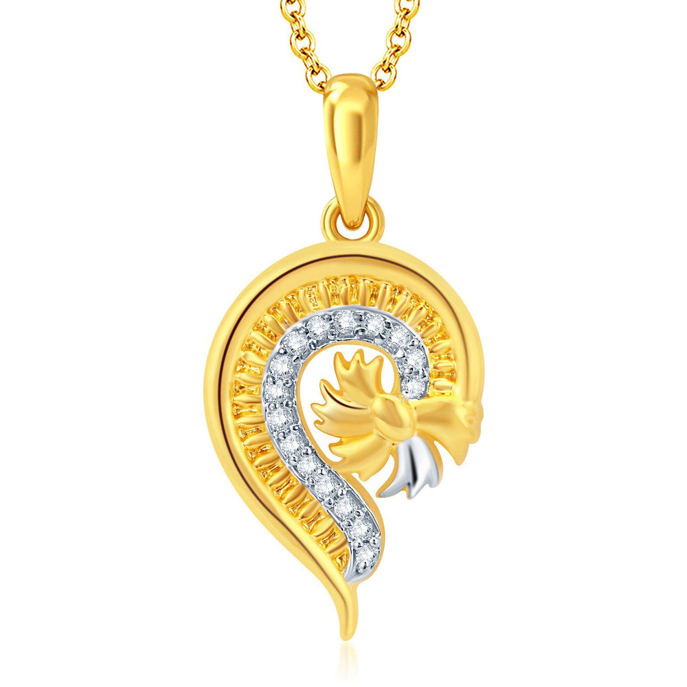 Pissara Glistening Gold and Rhodium Plated CZ Pendant Set-1
