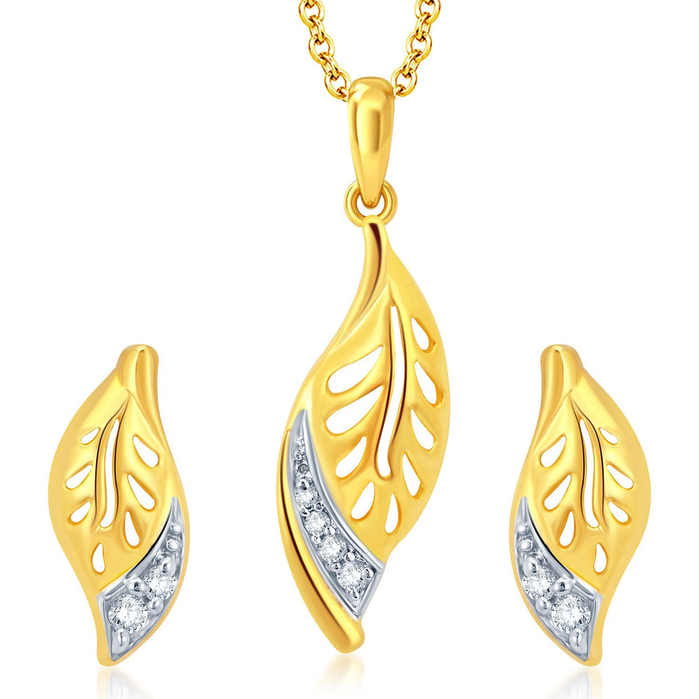 Pissara Leafy Gold and Rhodium Plated CZ Pendant Set