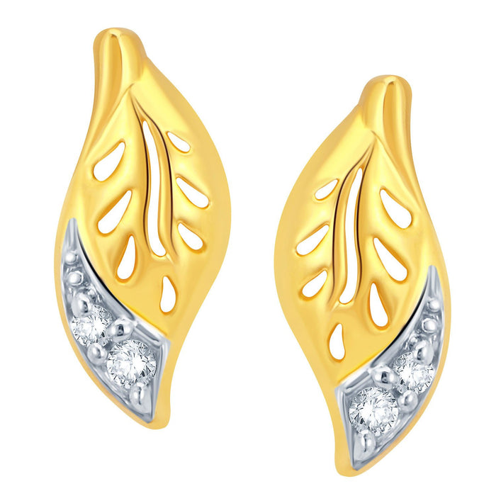 Pissara Leafy Gold and Rhodium Plated CZ Pendant Set-2