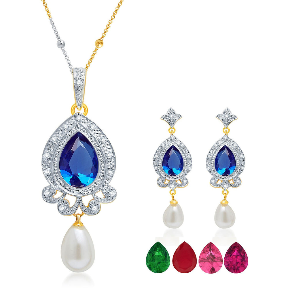 Pissara Glittery Gold and Rhodium Plated CZ Pendant Set with Set of 5 Changeable Stone