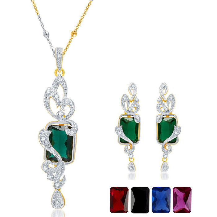 Pissara Elegant Gold and Rhodium Plated CZ Pendant Set with Set of 5 Changeable Stone