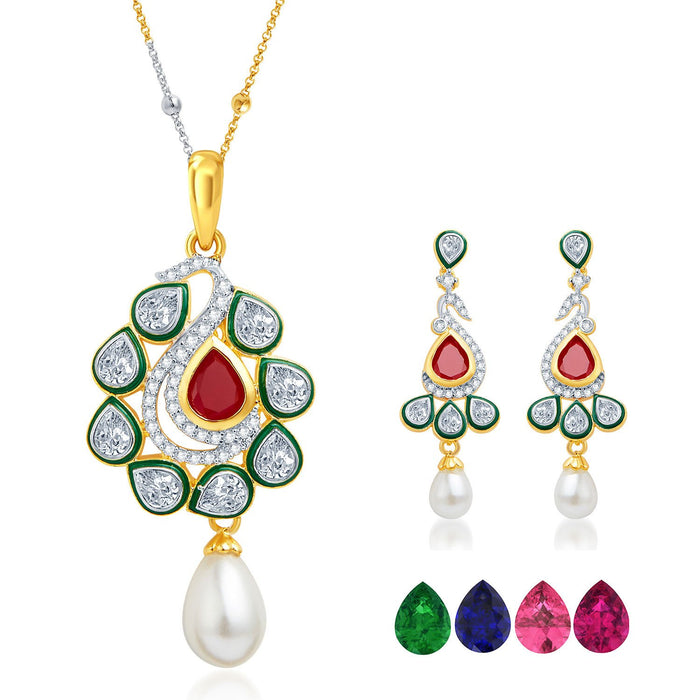 Pissara Magnificent Gold and Rhodium Plated CZ Pendant Set with Set of 5 Changeable Stone