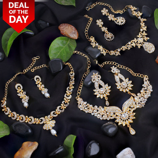 Sukkhi Intricately Gold Plated AD Set of 3 Necklace Set Combo For Women