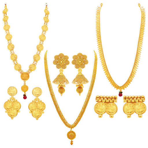 Sukkhi Youthful Laxmi Temple Coin Gold Plated Set Of 3 Necklace Set Combo For Women