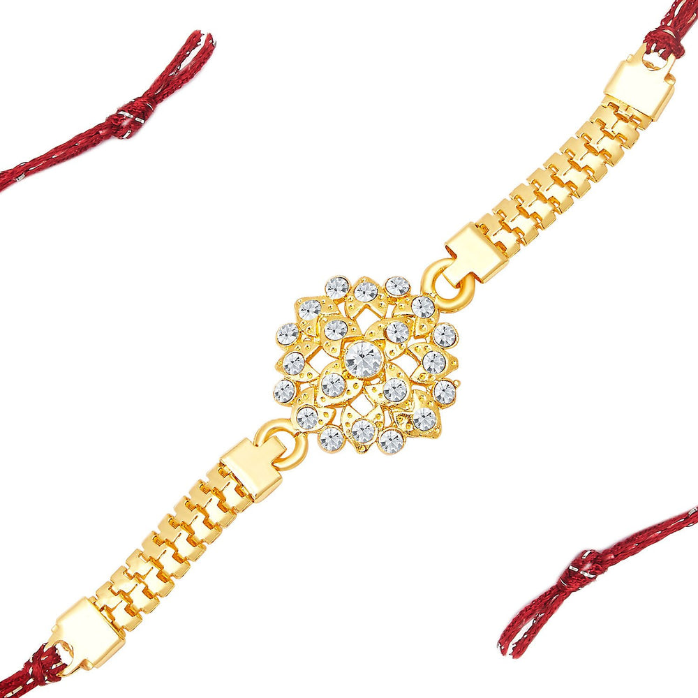 Sukkhi Delightly Gold Plated AD Bracelet Rakhi