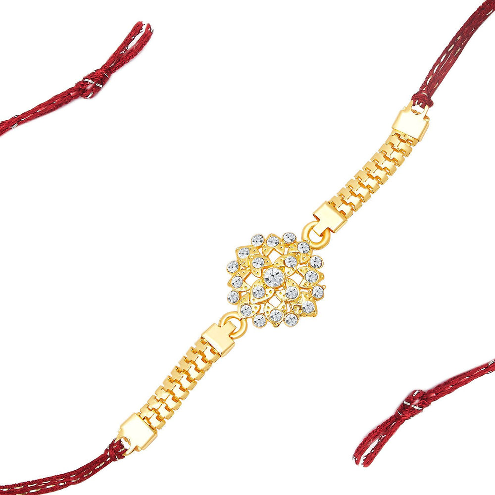 Sukkhi Delightly Gold Plated AD Bracelet Rakhi-1
