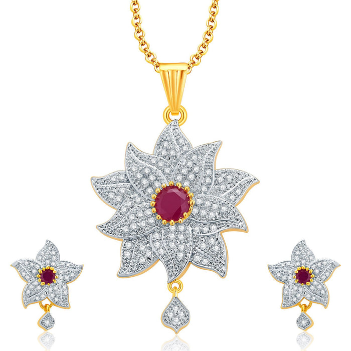 Pissara Floral Gold And Rhodium Plated Ruby CZ Pendant Set For Women