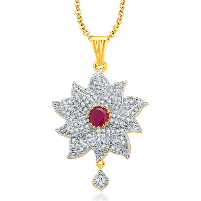 Pissara Floral Gold And Rhodium Plated Ruby CZ Pendant Set For Women-1
