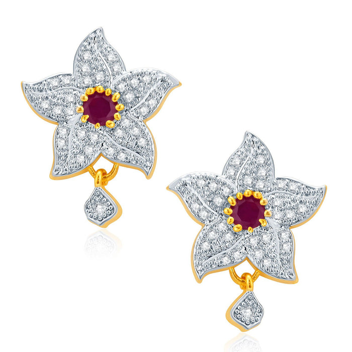 Pissara Floral Gold And Rhodium Plated Ruby CZ Pendant Set For Women-2