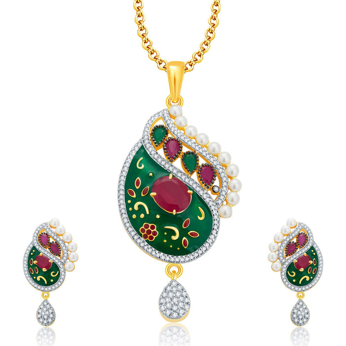 Pissara Magnolious Gold And Rhodium Plated Ruby CZ Pendant Set For Women