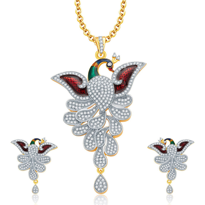 Pissara Eminent Peacock Gold And Rhodium Plated CZ Pendant Set For Women