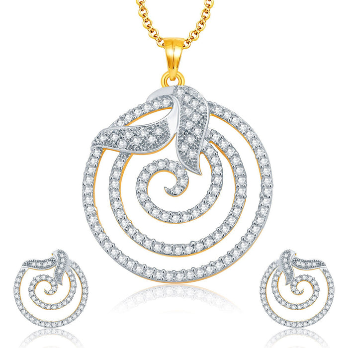 Pissara Fine Gold And Rhodium Plated CZ Pendant Set For Women