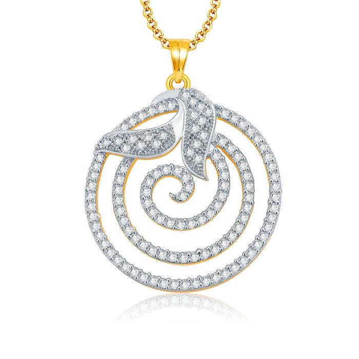 Pissara Fine Gold And Rhodium Plated CZ Pendant Set For Women-1