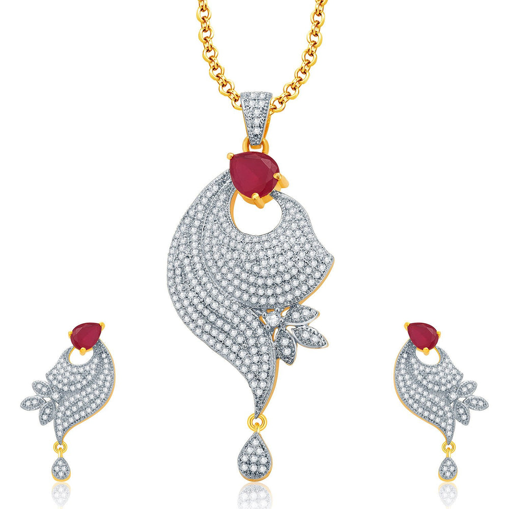 Pissara Irresistable Gold And Rhodium Plated Ruby CZ Pendant Set For Women