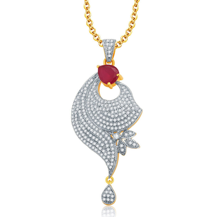 Pissara Irresistable Gold And Rhodium Plated Ruby CZ Pendant Set For Women-1
