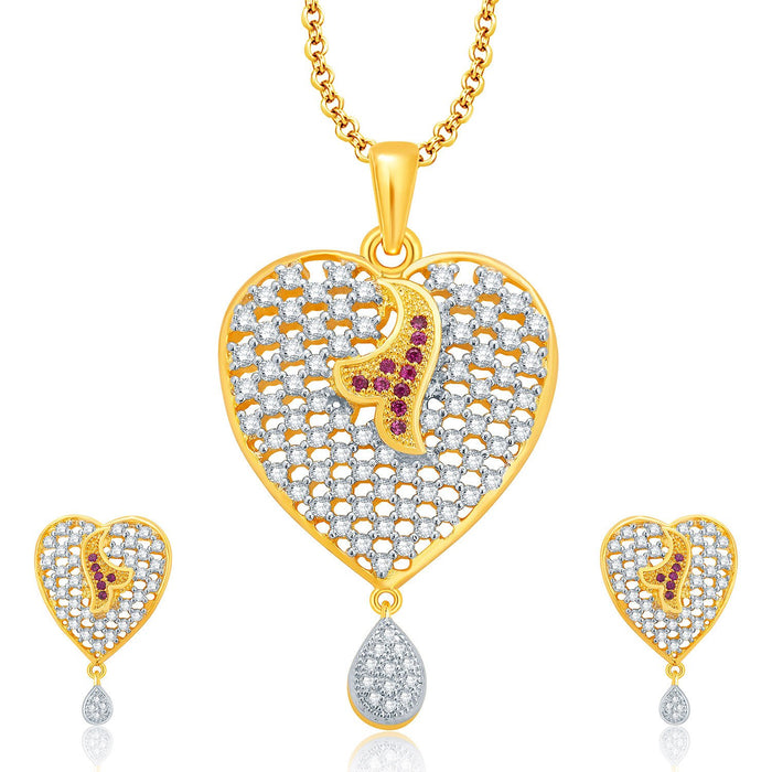Pissara Sparkling Gold And Rhodium Plated CZ Pendant Set For Women