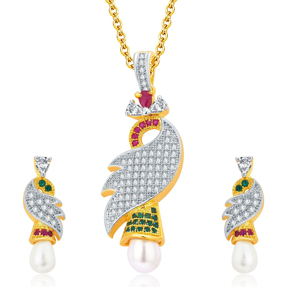 Pissara Exotic Gold And Rhodium Plated Ruby CZ Pendant Set For Women