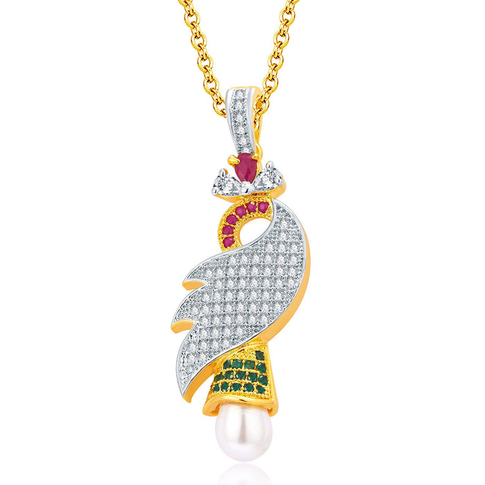 Pissara Exotic Gold And Rhodium Plated Ruby CZ Pendant Set For Women-1