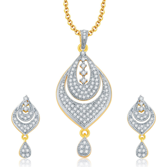Pissara Radiant Gold And Rhodium Plated CZ Pendant Set For Women