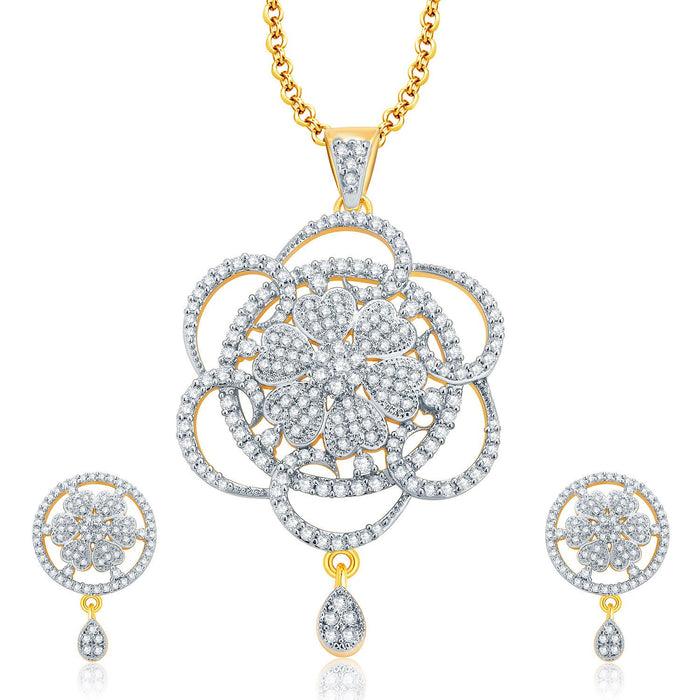 Pissara Fascinating Gold And Rhodium Plated CZ Pendant Set For Women