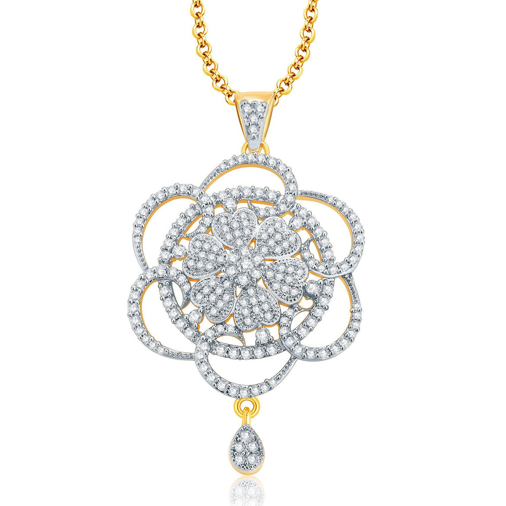 Pissara Fascinating Gold And Rhodium Plated CZ Pendant Set For Women-1