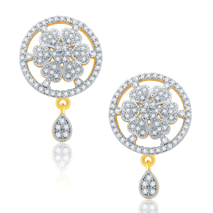 Pissara Fascinating Gold And Rhodium Plated CZ Pendant Set For Women-2