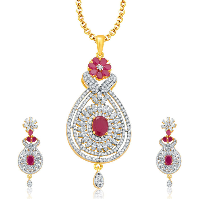 Pissara Mysterious Gold And Rhodium Plated Ruby CZ Pendant Set For Women