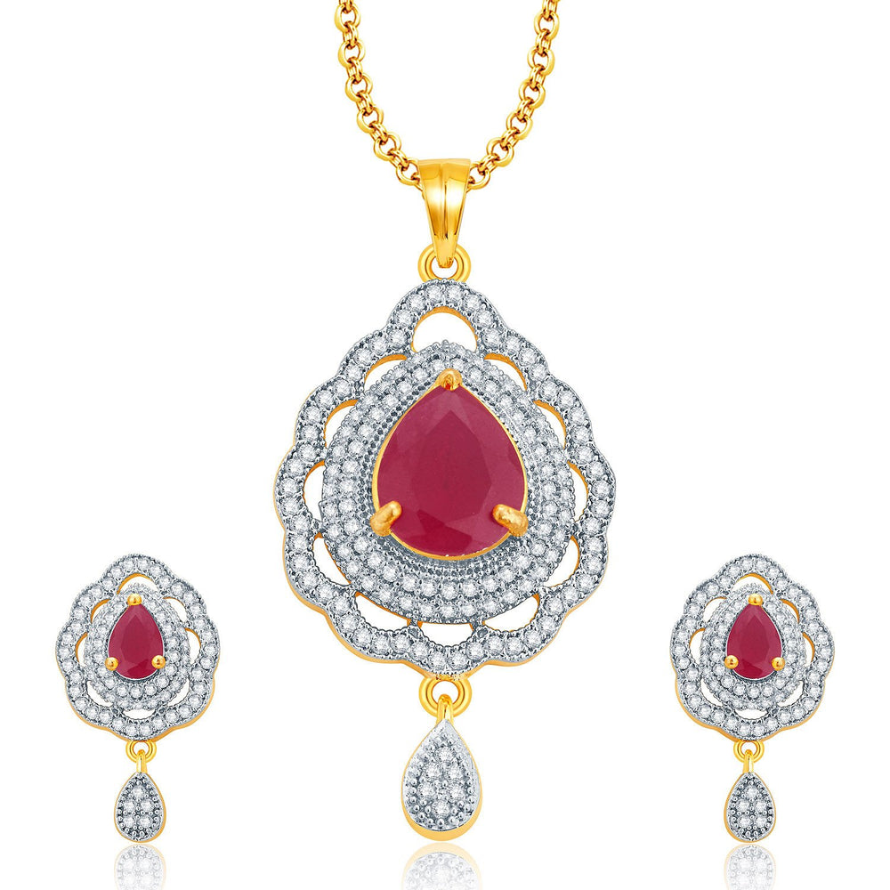 Pissara Imposing Gold And Rhodium Plated Ruby CZ Pendant Set For Women