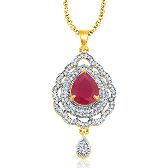 Pissara Imposing Gold And Rhodium Plated Ruby CZ Pendant Set For Women-1