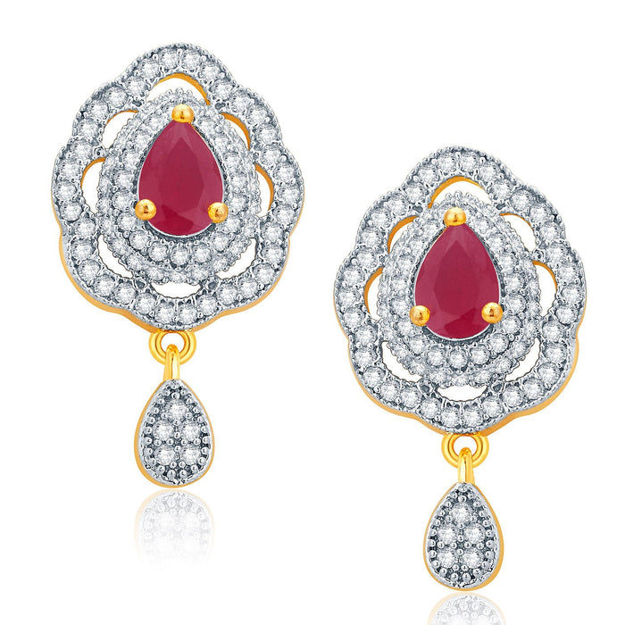 Pissara Imposing Gold And Rhodium Plated Ruby CZ Pendant Set For Women-2