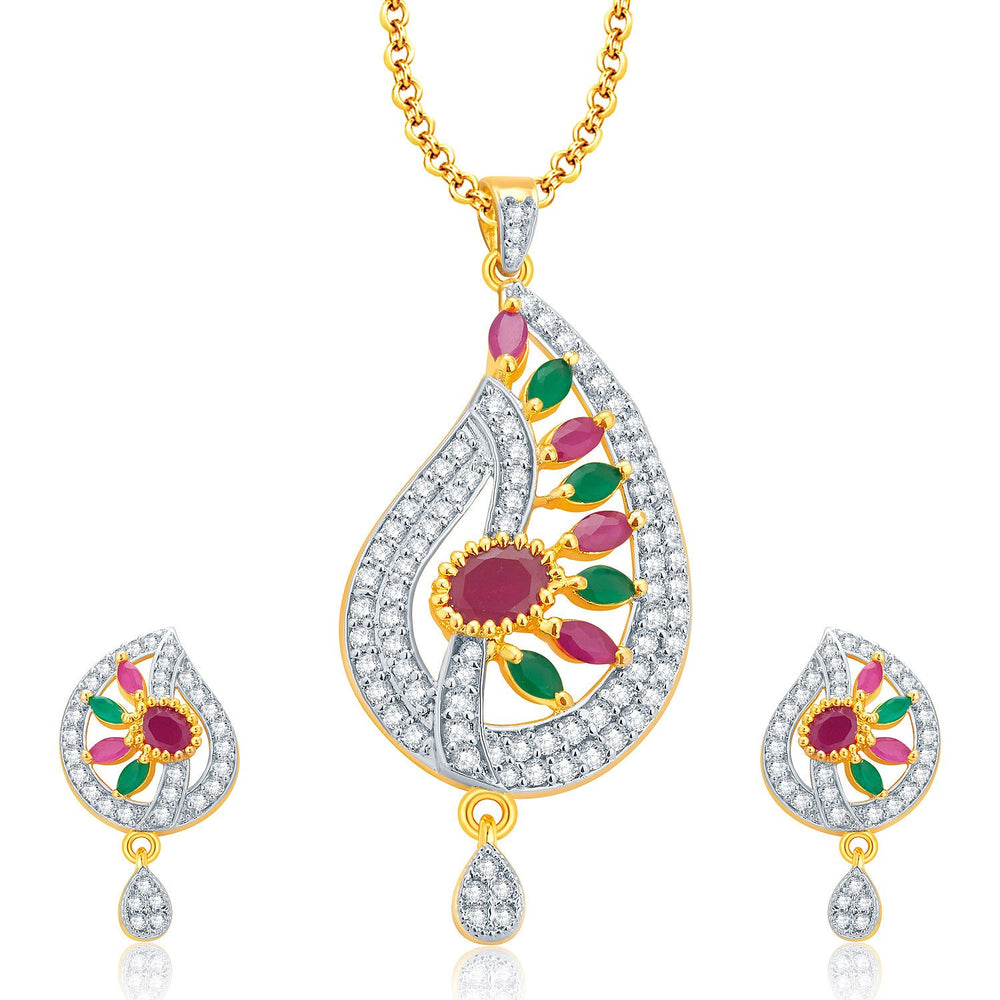 Pissara Enticing Gold And Rhodium Plated Ruby CZ Pendant Set For Women