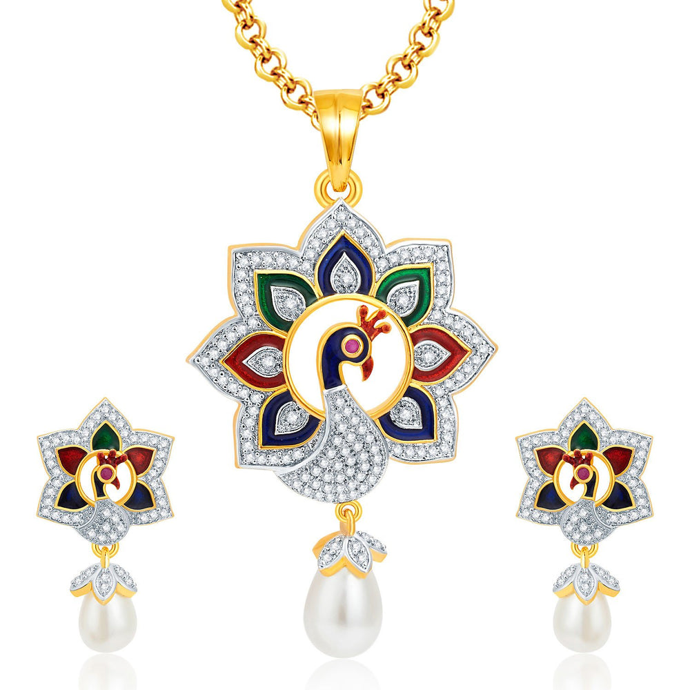 Pissara Immaculate Peacock Gold And Rhodium Plated CZ Pendant Set For Women