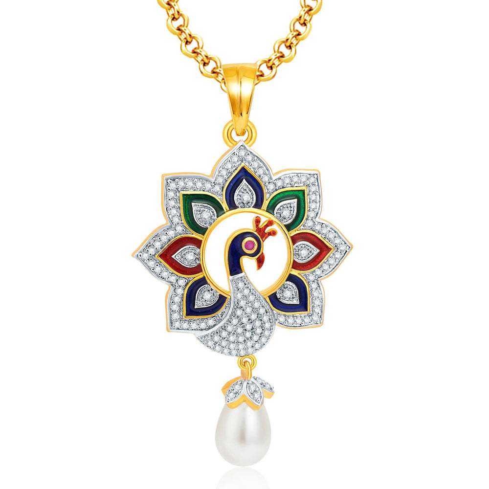 Pissara Immaculate Peacock Gold And Rhodium Plated CZ Pendant Set For Women-1