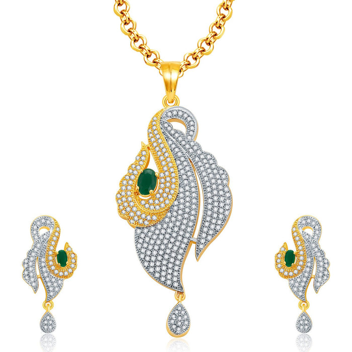 Pissara Ornate Gold And Rhodium Plated Emerald CZ Pendant Set For Women