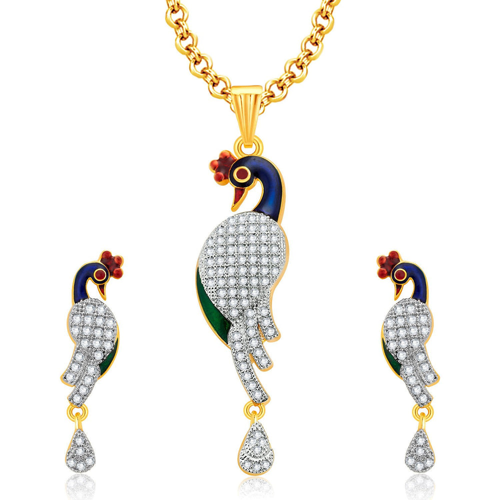 Pissara Sparkling Peacock Gold And Rhodium Plated CZ Pendant Set For Women