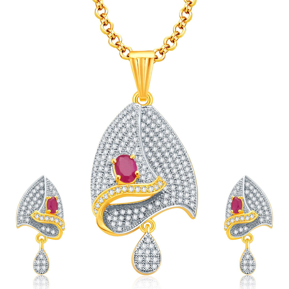 Pissara Enthralling Gold And Rhodium Plated Ruby CZ Pendant Set For Women