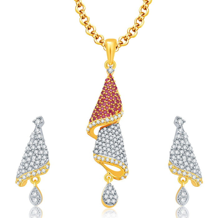Pissara Fascinating Gold And Rhodium Plated Ruby CZ Pendant Set For Women