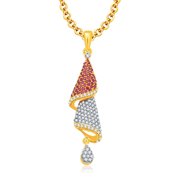 Pissara Fascinating Gold And Rhodium Plated Ruby CZ Pendant Set For Women-1