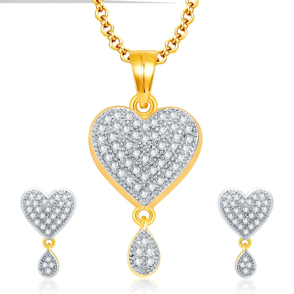Pissara Jovial Gold And Rhodium Plated CZ Pendant Set For Women