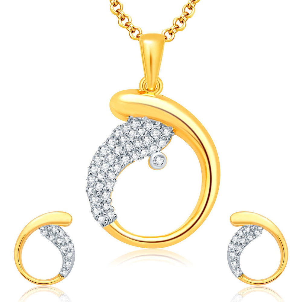 Pissara Pleasing Gold And Rhodium Plated CZ Pendant Set For Women