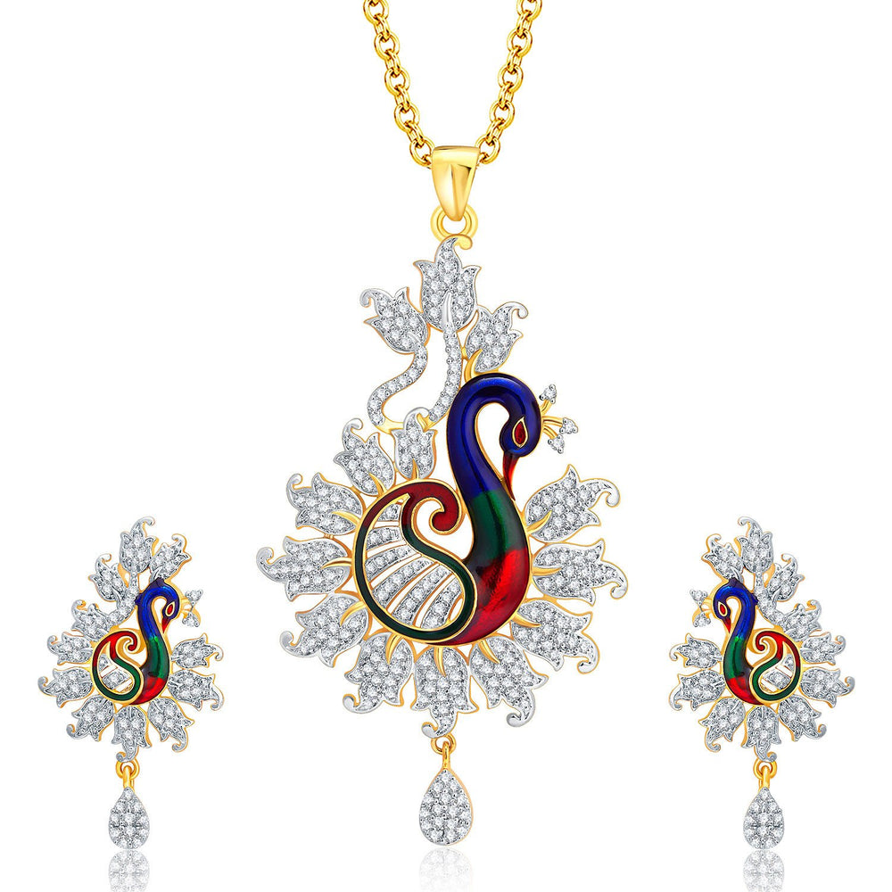 Pissara Enticing Peacock Gold And Rhodium Plated CZ Pendant Set For Women