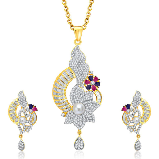 Pissara Decorative Gold And Rhodium Plated Ruby CZ Pendant Set For Women