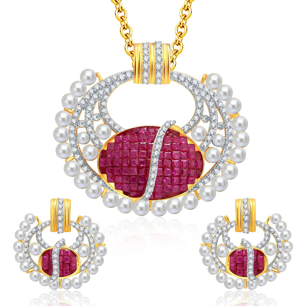 Pissara Distinctive Gold And Rhodium Plated Ruby CZ Pendant Set For Women
