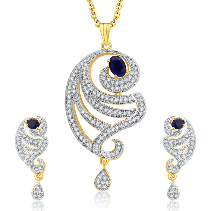 Pissara Spellbinding Gold And Rhodium Plated CZ Pendant Set For Women