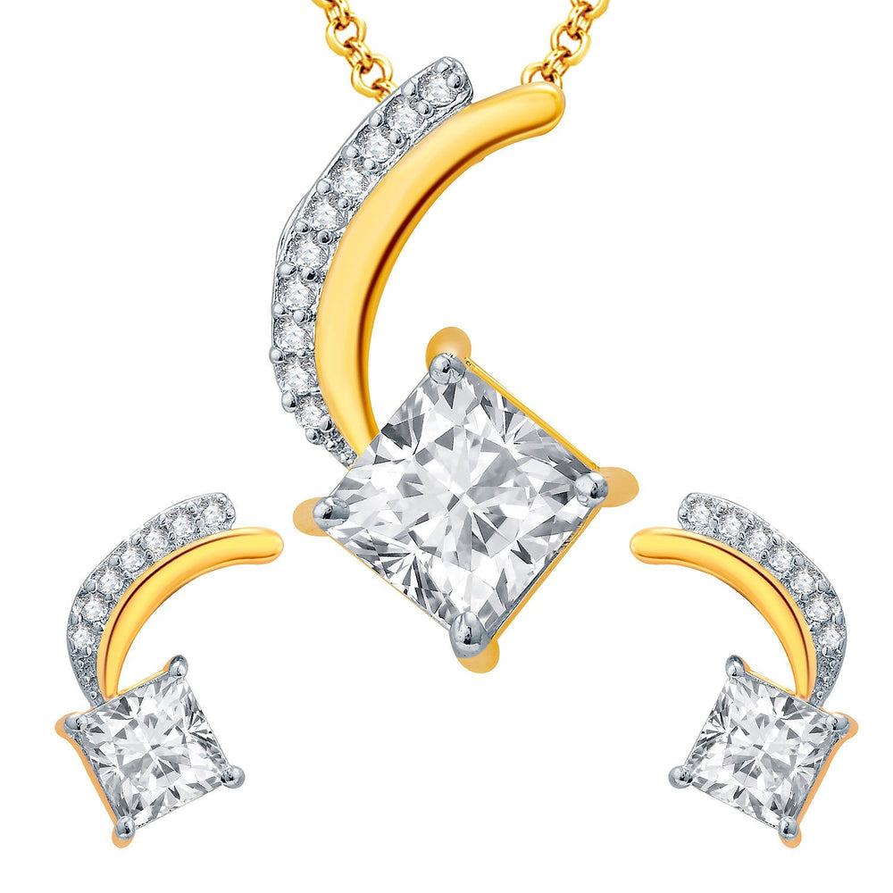 Pissara Lord Shiva Gold And Rhodium Plated CZ Pendant Set For Women