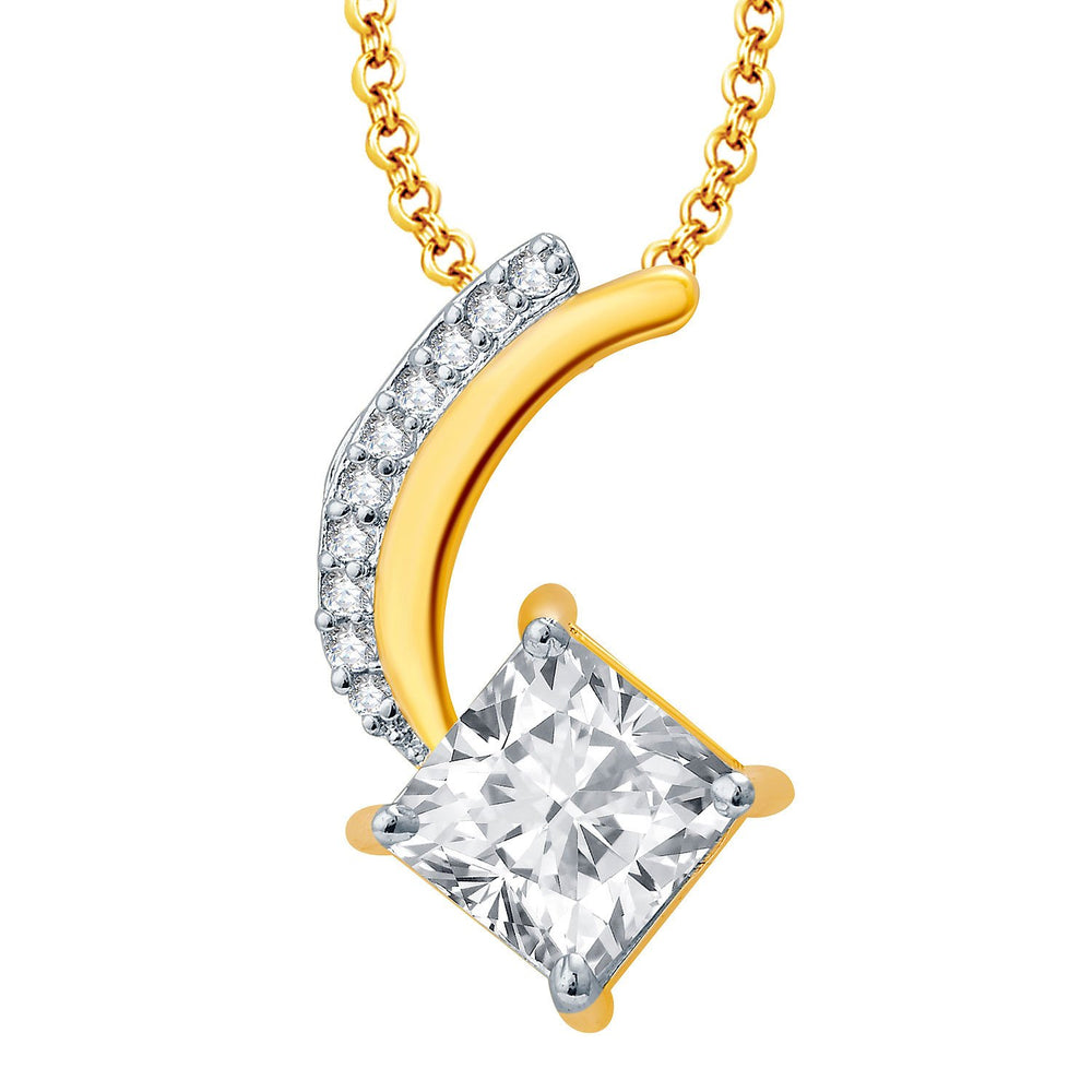 Pissara Lord Shiva Gold And Rhodium Plated CZ Pendant Set For Women-1