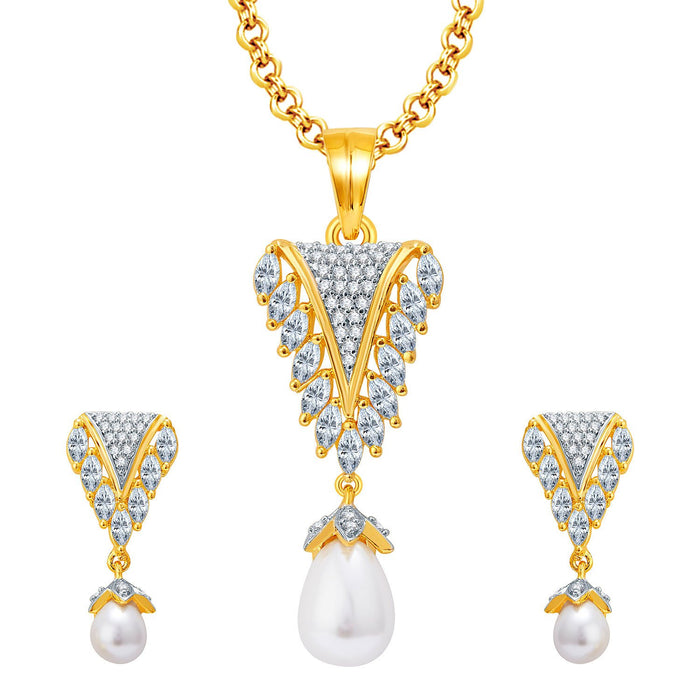 Pissara Sparkly Gold And Rhodium Plated CZ Pendant Set For Women