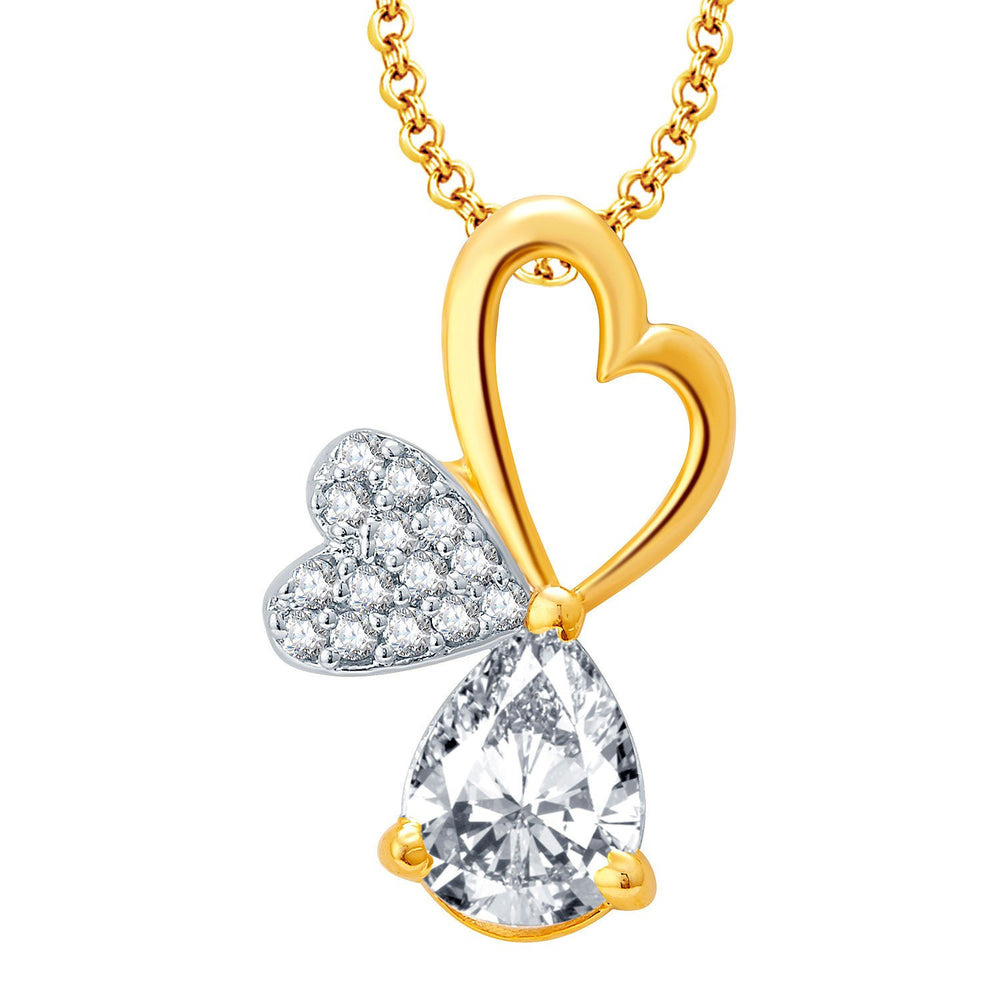 Pissara Hearty Gold And Rhodium Plated CZ Pendant Set For Women-1