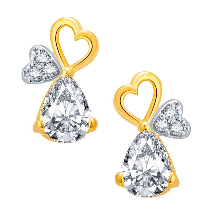 Pissara Hearty Gold And Rhodium Plated CZ Pendant Set For Women-2