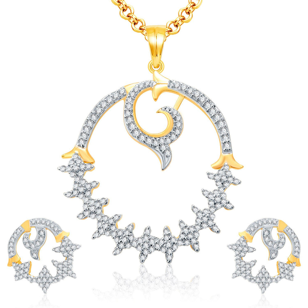 Pissara Designer Gold And Rhodium Plated CZ Pendant Set For Women